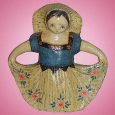 Vintage Mexican Folk Art Papier Mache Girl Armando Girl w/ Skirt Doll Statue
