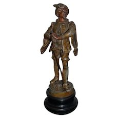French Bronze or Metal Statue Fabrication Made in Francaise Paris France Musketeer Doll Figurine