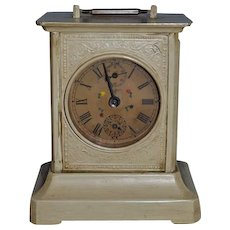 Old Carriage Clock Musical and Tells Time Glass Metal Sweet Size Mechanical Wind Up German Small Size For Doll
