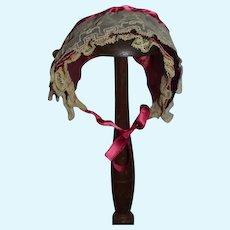 Vintage Doll Fancy Bonnet Hat From Dollology Club Lace Flowers