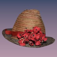 Old Doll Straw Hat Bonnet W/ Flowers Two Tone