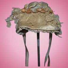Wonderful Doll Artist Made Wire Brim Bonnet Hat Satin W/ Flowers