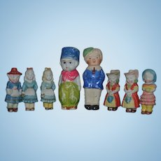 Old Doll Lot EIGHT All Bisque Dolls Dollhouse Miniature Frozen Dolls
