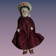 Old Doll Miniature Unusual Frozen Charlotte Molded Hat Dollhouse