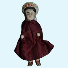 Old Doll Miniature Unusual Frozen Charlotte Molded Hat Dollhouse