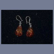 Vintage Sterling and Amber Dangle Earrings