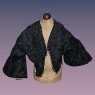 Old Black Beaded Jacket Fashion Doll Fancy Brocade Jet Black Bead Buttons