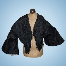 Old Black Beaded Jacket Fashion Doll Fancy Brocade Jet Black Bead Buttons