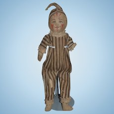 Antique Doll Cloth Doll Mask Face Jester Clown Original Clothing WONDERFUL