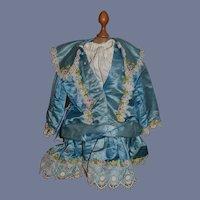 Wonderful Doll Dress Drop Waist Gorgeous with Lace Trim Flowers French Doll