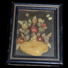 Old Doll Miniature Seashell Flower Picture Wood Frame Dollhouse