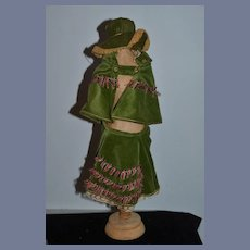 Old Doll Three Piece Outfit Jacket Hat and Skirt Fancy Custom Made By Madame Dee