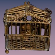 Old Soft Metal Doll Bird Cage For Dollhouse Miniature W/ Swing Birdcage