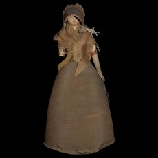 Antique Doll Milliner's Model Charming Papier Mache Pincushion Pin Cushion