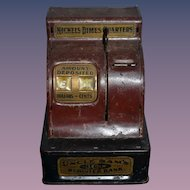 Old Metal Uncle Sam's 3 Coin Register Bank Nickels Dimes Quarters Old Metal Doll Size Miniature Bank Cash Register