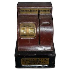 Old Metal Uncle Sam's 3 Coin Register Bank Nickels Dimes Quarters Old Metal Doll Size Miniature Bank Cash Register