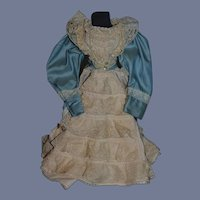 Beautiful Hand Made Dress with Fancy Jacket for French Doll Lace