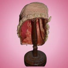 Antique Doll Hat Bonnet Dolly Madison Silk W/ Flowers Gorgeous