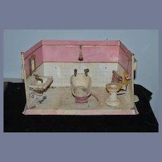 Old Doll Tin Bathroom Set Tin Room Bath Tub Sink Toilet Miniature Dollhouse