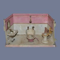 Old Doll Tin Bathroom Set Tin Room Bath Tub Sink Toilet Miniature Dollhouse