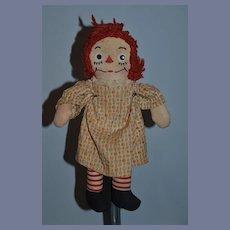 Old Doll Raggedy Ann Cloth Doll Rag Doll Unusual Face