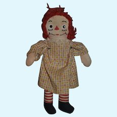Old Doll Raggedy Ann Cloth Doll Rag Doll Unusual Face