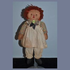 Old Raggedy Ann Doll Rag Doll Button Eyes Cloth Doll: