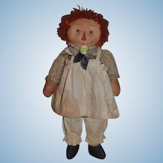 Old Raggedy Ann Doll Rag Doll Button Eyes Cloth Doll: