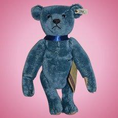 Vintage Steiff Teddy Bear Blue Mohair Steiff Club Bear With Button Tag Porcelain Tag and String Tag