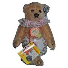 Vintage Teddy Bear Mohair Steiff Goldilocks W/ Button Tag Chest Tag String Tag
