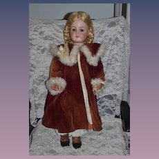 Wonderful Old Doll Fur Trimmed Velvet Coat and Matching Fancy Hat or Bonnet GORGEOUS