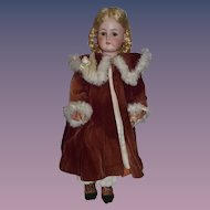 Wonderful Old Doll Fur Trimmed Velvet Coat and Matching Fancy Hat or Bonnet GORGEOUS