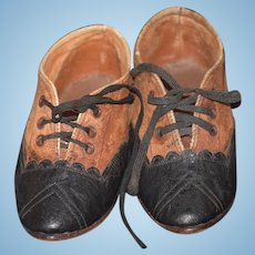 Wonderful Old Doll Leather Shoes lace up Child's Two Tone Fancy