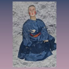 Wonderful Old Carved Wood and Cloth Doll Charming Large Unusual