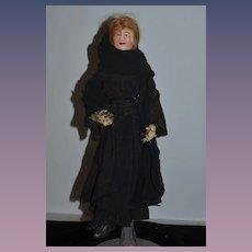 Old Doll Unusual Papier Mache & Cloth Lady Doll Fab Clothes Portrait Doll