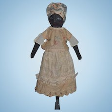 Artist Doll Black Cloth Rag Doll Painted Features Charming