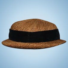 Wonderful Old Straw Hat Doll Hat for Bigger Doll Jan Cerlie