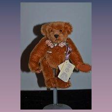 """Artist Teddy Bear Glass Eyes Mohair Jointed W/ Tag """"Samantha"""" Beana Bears  American Teddy Bear Artist Guild"""