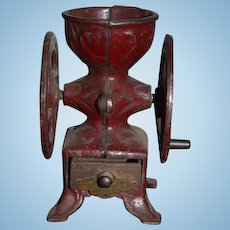 Antique Doll Miniature Grinder Cast Iron Footed W/ Drawer Coffee Mill Dollhouse Double Wheel