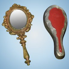 Old Miniature Enamel Brush and Ornate Gold Metal Mirror For Fashion Doll Dollhouse