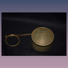 Old Doll German Silver Chatelaine Compact Miniature w/ Fancy Powder Puff Accessory