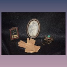 Miniature Set For Your Doll Metal Purse w/ Rhinestones a Pair of Doll Gloves a Sweet Miniature enamel Mirror on Stand and Girl W/ Cross
