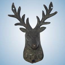 Old Miniature Stag Deer Head Dollhouse Wall Mounting Metal