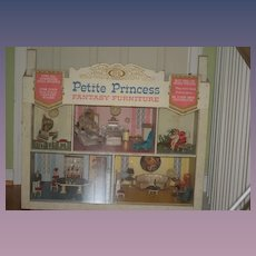 Old Petite Princess ORIGINAL Store Display Dollhouse Miniatures IDEAL W/ Furniture and Doll