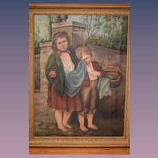 Wonderful Painting of Peasant Children Wood Gold Frame Charming Oil Painting on Canvas For Doll Room