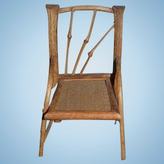 Old Doll Bamboo Chair Woven Cane Seat Charming Miniature Dollhouse