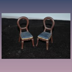 Old Doll Chairs Set Old Metal Upholstered Miniature Dollhouse