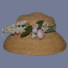 Old Doll Fancy Wide Brim Straw Hat Bonnet W/ Flowers