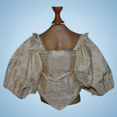 Wonderful Old Silk Top For Doll Fancy Puffy Sleeves Blouse