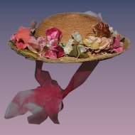 Wonderful Doll Straw Hat Flower Wreath Adorable Bonnet